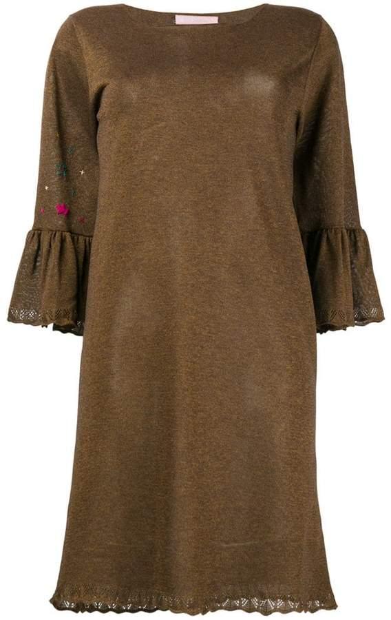 Kristina Ti embellished trumpet sleeve dress