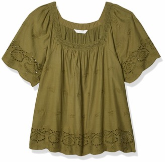 Lucky Brand Women's Short Sleeve Square Neck Lace Mix Peasant Top