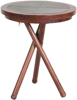 Houseology OH Vintage Campaign Teak and Leather Low Wine Table