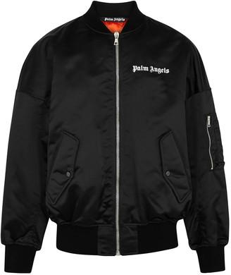 Palm Angels Black logo nylon bomber jacket