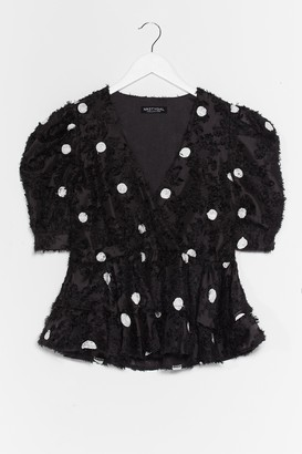 Nasty Gal Womens Got a Flock to Say Polka Dot Blouse - Black - L