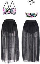 Dasbayla Women's Plus Size Floral Bikini Two Piece Swimsuit Top With Chiffon Long Skirt L