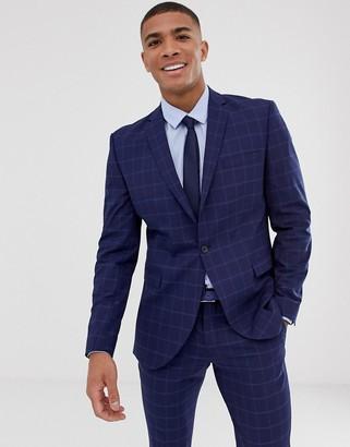 Selected slim suit jacket in navy window check