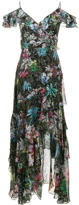 Peter Pilotto Sleeveless Ruffle Floral Print Dress
