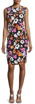 Oscar de la Renta Sleeveless Mixed Poppy-Print Dress, Black