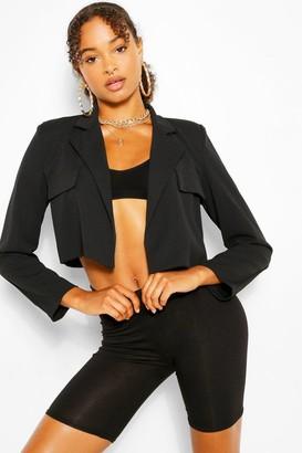 boohoo Pocket Tailored Crop Blazer