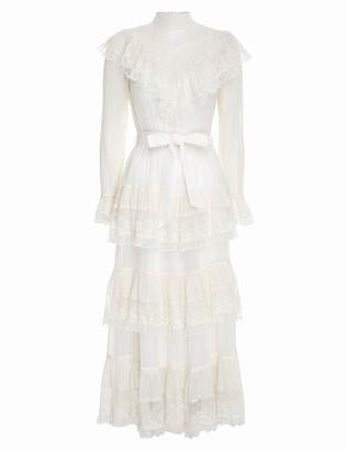 Zimmermann Glassy Frilled Lace Midi Dress