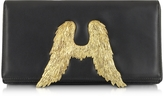 Bernard Delettrez Black Nappa Leather Clutch w/Angel Wings