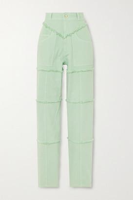 Ambush Frayed High-rise Straight-leg Jeans - Mint