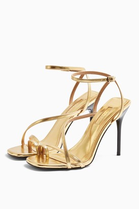 Topshop Womens Rise Gold Strappy Heels - Gold