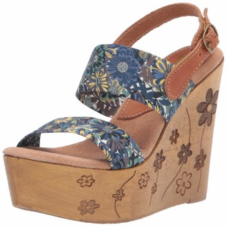 Sbicca Women's Telescopium Floral Two Band Wedge Sandal Navy Multi