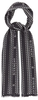 Givenchy Chain Logo-print Modal-blend Twill Scarf - Mens - Black White