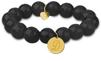 Jane Basch 14K Onyx Initial Stretch Bracelet (A-Z)