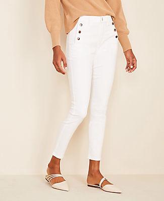 Ann Taylor Petite High Waist Skinny Sailor Jeans in White
