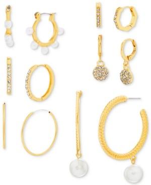 Steve Madden Gold-Tone 6-Pc. Set Crystal & Imitation Pearl Hoop Earrings