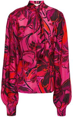 Antonio Berardi Pussy-bow Printed Silk Crepe De Chine Blouse