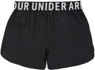 Under Armour Girls Play Up Solid Shorts - Black Silver