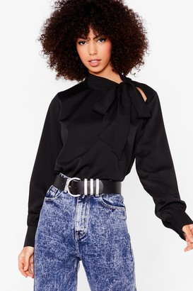 Nasty Gal Womens Who Pussybows There Cut-Out Blouse - Black
