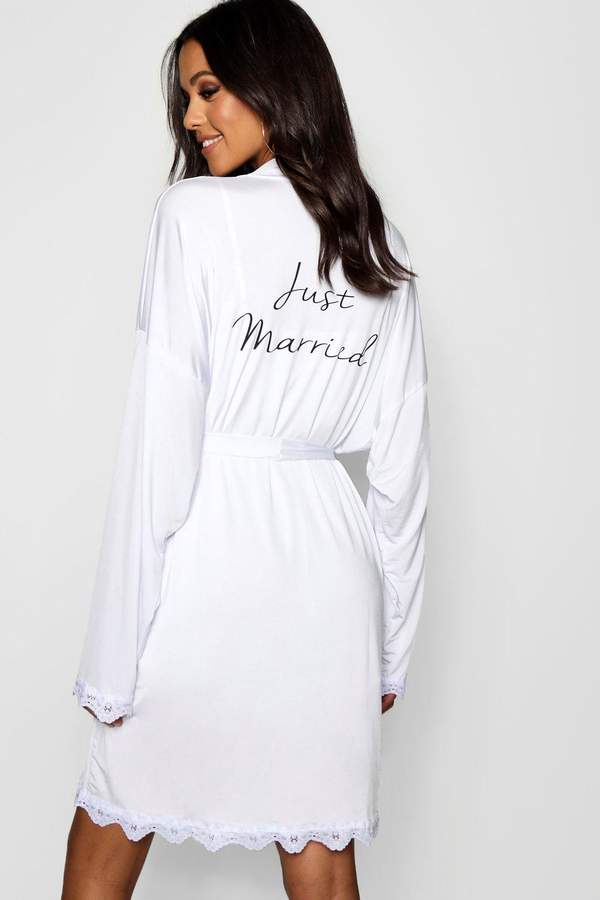 boohoo Tall Just Married Bridal Dressing Gown