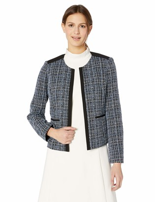 Kasper Women's Jewel Neck Knit Jacquard Fly Away Jacket