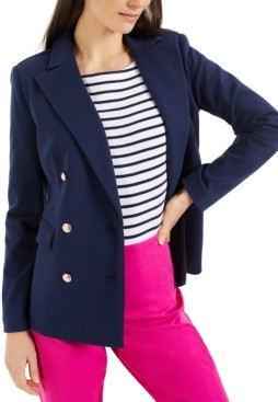 Charter Club Petite Knit Double-Breasted Blazer, Created for Macy's