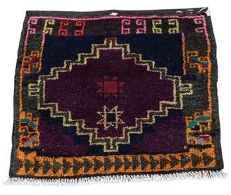 "Isabelline One-of-a-Kind Linnie Bag Face Pure Hand-Knotted 1'7"" x 1'9"" Wool Black/Red Area Rug Isabelline"