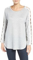 Bobeau Petite Women's Lace Trim Dolman Sleeve Top