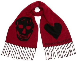 Alexander McQueen Wool-Rich Skull And Heart Scarf