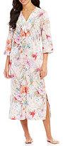 Miss Elaine Floral Sateen Tasseled Zip Robe