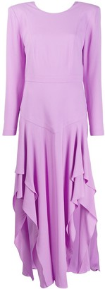 Stella McCartney Asymmetric Pleated Long-Sleeved Dress