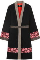 Etro Jacquard-trimmed Wool-crepe Jacket - Black