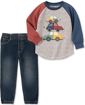 Kids Headquarters Little Boys 2-Pc. Colorblocked Cars Applique French Terry Sweatshirt & Denim Jogger Pants Set