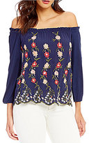 Lucky Brand Off-The-Shoulder Floral Embroidered Knit Top