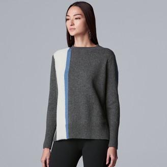 Vera Wang Women's Simply Vera Crew Color Block Sweater