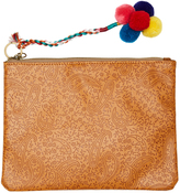 Swell Embossed Clutch Zip Purse Brown