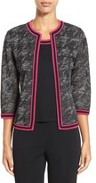 Ming Wang Women's Contrast Trim Houndstooth Knit Jacket