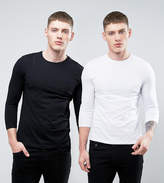 Asos 2 Pack Long Sleeve T-Shirt With 3/4 Sleeve In Black/White SAVE