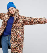 Monki Leopard Print Padded Oversized Coat