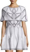 Herve Leger Contrast-Stitch Poncho, Alabaster/Combo