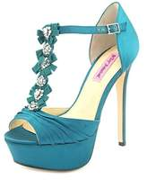 Betsey Johnson Elizabth Women Peep-toe Canvas Heels.