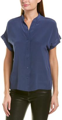 Lavender Brown Mock Collar Silk Blouse