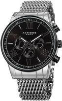 Akribos XXIV Mens Silver Tone Bracelet Watch-A-919ssbk