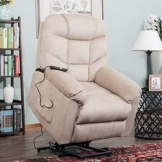 "Red Barrel Studio Loui Electric 24"" Power Lift Assist Recliner Fabric: Beige"