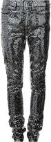 Saint Laurent sequin embellished skinny trousers - women - Cotton/Polyester/Spandex/Elastane - 27