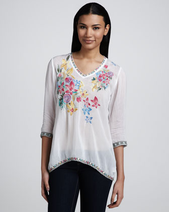 Johnny Was Collection Acey V-Neck Embroidered Blouse, Women's