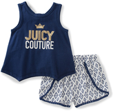 Juicy Couture Navy 'Juicy' Tank & White Shorts - Infant Toddler & Girls