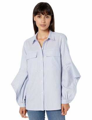 BCBGMAXAZRIA Women's Mixed Stripe Cotton Shirt