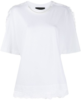 Simone Rocha pearl-embellished broderie anglaise T-shirt