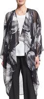 eskandar Printed Silk Chiffon Cocoon Coat, Black