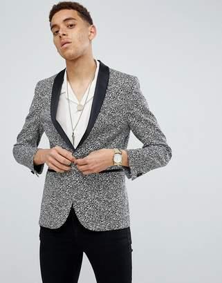 Moss Bros skinny blazer in printed monochrome-Black